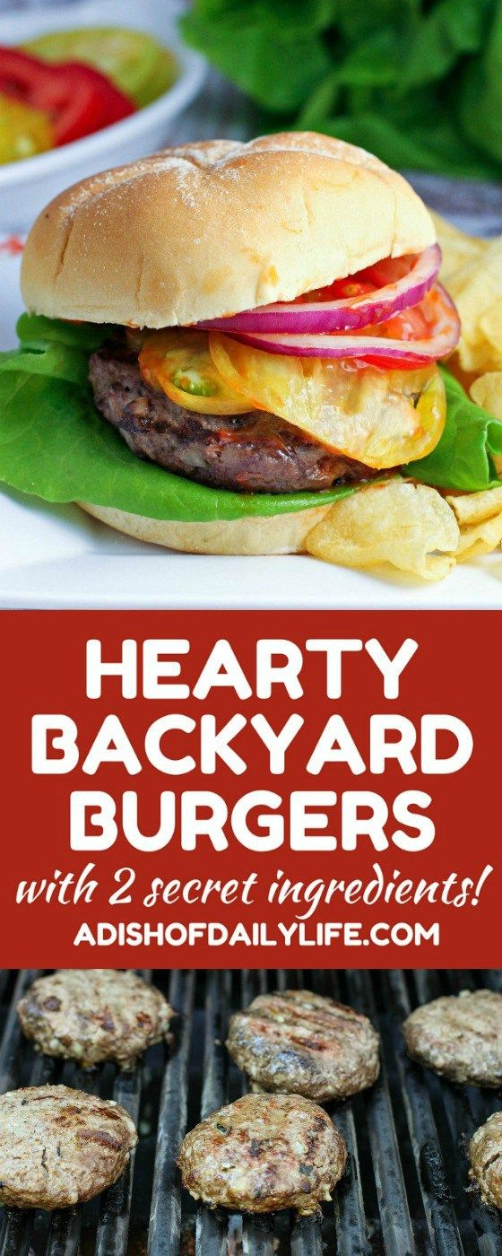 Kick up the flavor on your burgers for your next BBQ! The two secret ingredients give this Hearty Backyard Burgers recipe a unique flavor that everyone will rave about! #burgertour #ad