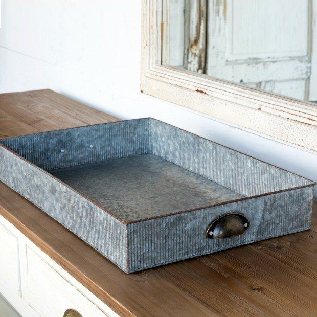 Galvanized Drawer Tray With Handles Home Tray