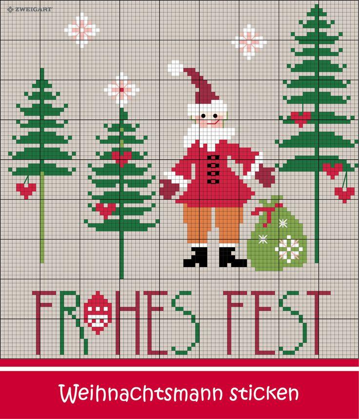 Nikolaus im Tannenwald sticken #Sticken #Kreuzstich / #Weihnachten  #Embroidery #Crossstitch / #Christmas #nicholas #ZWEIGART