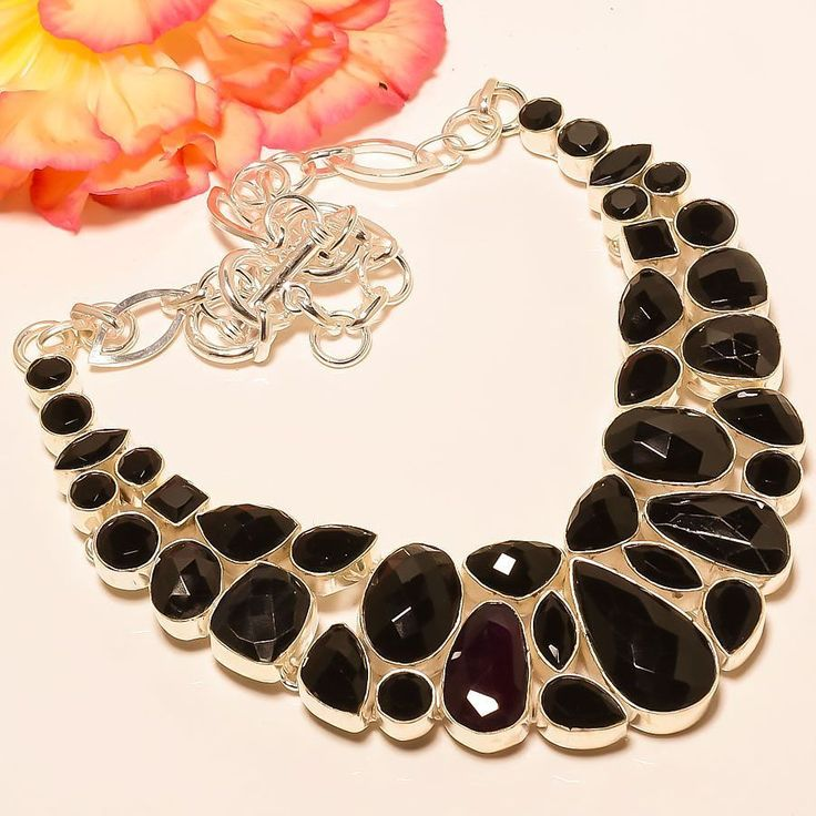 "Brazilian Black Onyx 925 Sterling Silver Jewelry Necklace 18"" #Handmade #Choker"