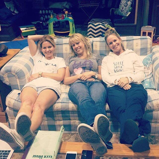 Candance Cameron-Bure, Jodie Sweetin and Andrea Barber on the set of 'Fuller House'.