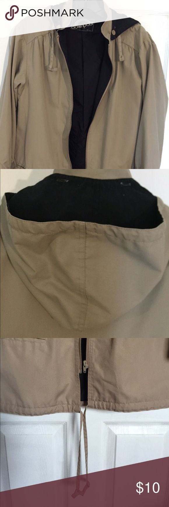 "Khaki hooded jacket Lady khaki hooded jacket.Detachable hood, Size 8.Lined. With 100 % nylon. Draw string in the lower portion . Contain two pockets , separating zipper .Good as new . 28 "" long from shoulder down By: downpour downpour Jackets & Coats"