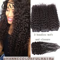 6A Peruvian virgin Hair Bundles With Lace Closure Cheap Human Hair kinky curly With Closure Peruvian curly Hair With Closure