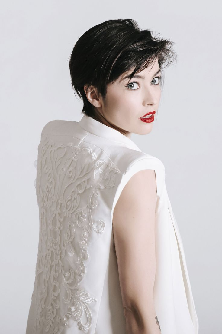 Androgynous Style. Women's White Wedding Suit. Same-sex wedding idea. THE NEW BRIDE non-wedding dress. Lace back detail.
