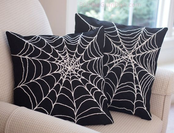 Spider Web Pillow Cover Creepy Chic Halloween by BubbleGumDish, $64.00