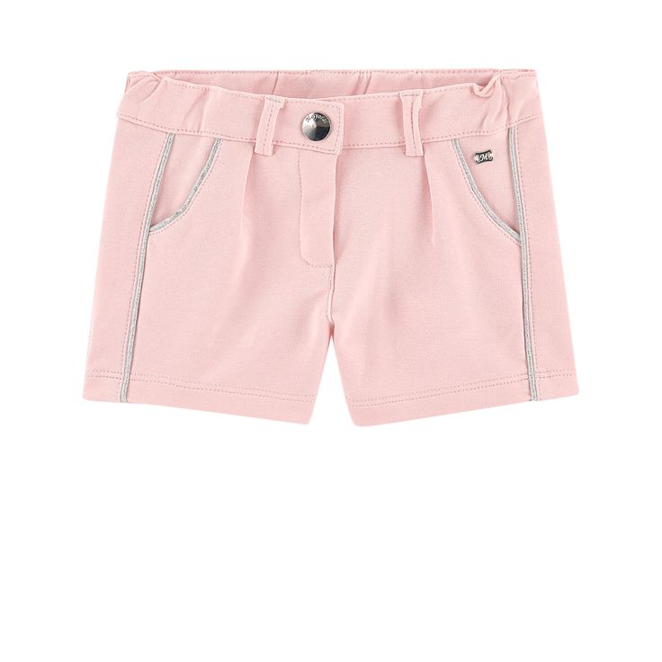 Light cotton fleece Super stretch Short cut Slant pockets Adjustable waistband with an inner buttoned elastic strap  Zip fly Logo button Shiny effect Contrast piping on the trims Metal monogram - 24,00 €