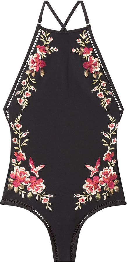 Zimmermann Embroidered Swimsuit with Cut-Out Detail