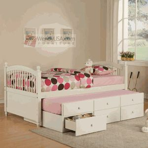 Powell May Pure White Kids Twin Trundle Bed with Storage Drawers @Cathy Carter for Fin :)