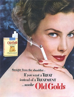 Old Golds - Vintage Cigarette Ad. A Treat instead of a Treatment.