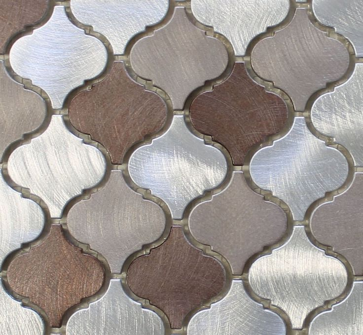 Casablanca Brushed Aluminum Arabesque Mosaic Tiles 23