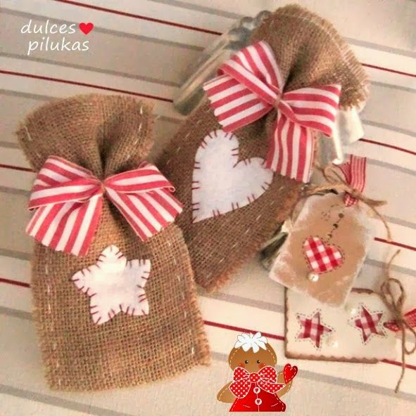 dulces pilukas: Bolsas regalo con tela de saco. Un envoltorio encantador.