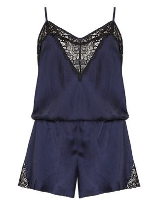 Silk Teddy with French Designed Rose Lace | M&S