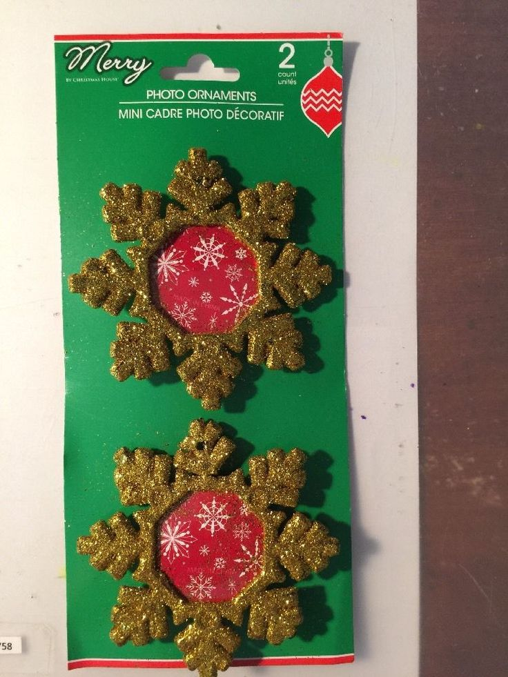 2 Snowflake Photo Frame Holiday Ornament Gold Glitter For Christmas Tree