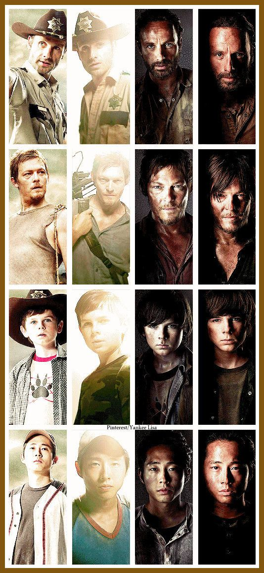 The Walking Dead, wow they change so much over 4 seasons. Oh my gosh look at Carl how much he's changed more than the rest