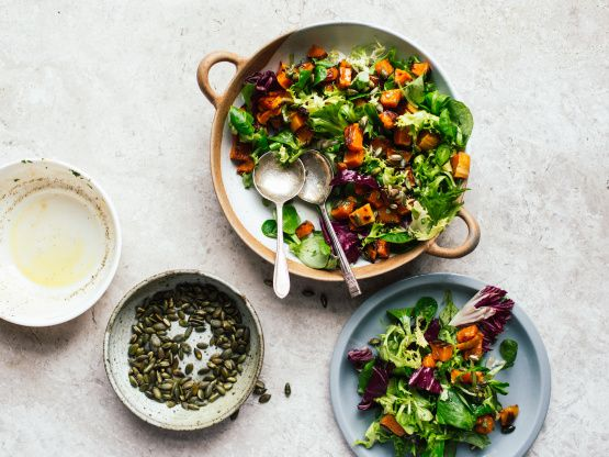 Make and share this Pumpkin Mixed Greens Salad With Maple Vinaigrette recipe from Genius Kitchen.