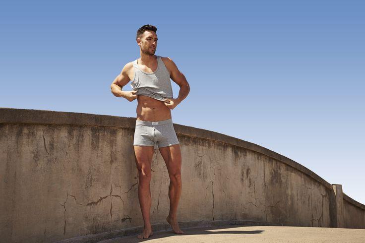 By the beach | Basics | Cox Rib Boxer Trunk | Grey Marle #cotton #underwear #tank #menswear #basics #lifestyle #bondi