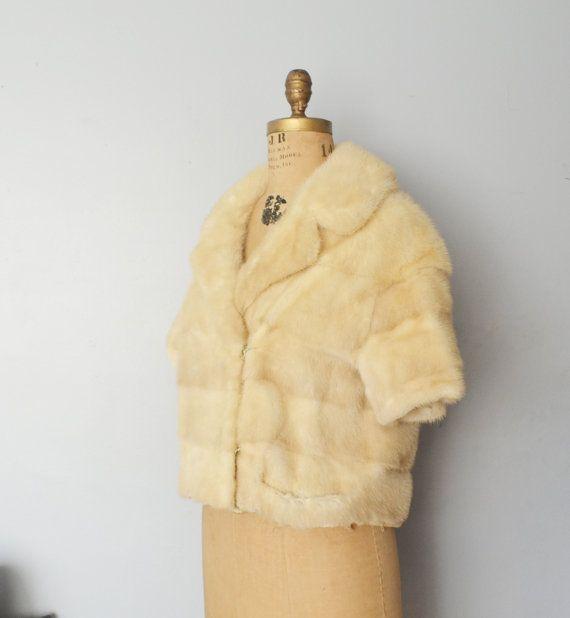 Cape de fourrure de vison de mariage Ivoire vison blonde mariée-veste fourrure manteau