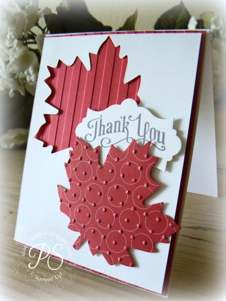Clever way to use a cut out and its negative space.  red maple leaf cut out has been embossed with swiss dots, while the negative space left behind covers paper with embossed stripes.  Great contrast and creative handmade thank you card.