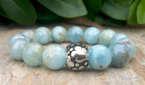 Water of the Sea, 12 mm Aquamarine Natural Stone Stretch Bracelet, Five Leaf Clover Charm, Good Luck, Abundance, Intention, Healing Jewelry by Braceletshomme