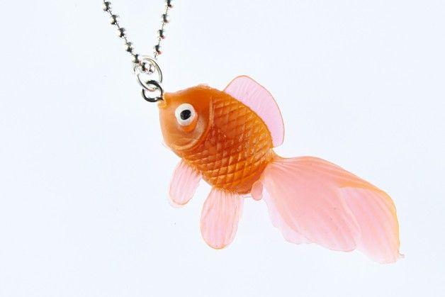 Ketten kurz - Fisch Koi Kette Kampffisch Goldfisch Gummi neon or - ein Designerstück von miniblings bei DaWanda