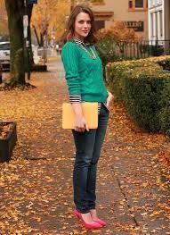 「緑 セーター コーデ」の画像検索結果