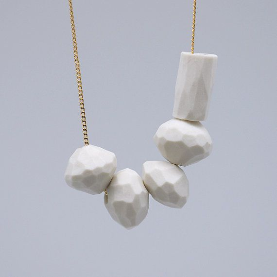 WHITE PORCELAIN Necklace // porcelain jewelry by TheHeiressAtelier