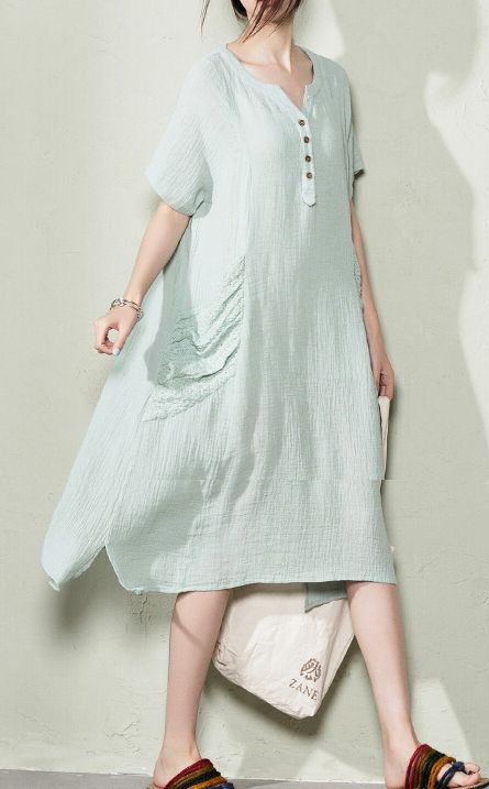 Pale gray linen summer maxi dresses oversize linen sundress maternity blouse