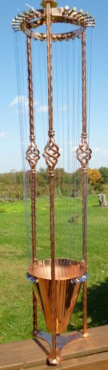 Single Celtic Basket Copper Plated wind harp