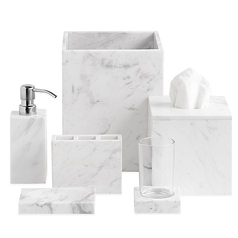 Bring the sophistication and luxurious look of a fine hotel to your bathroom décor with the elegant Camarillo Marble Bath Ensemble. Beautifully crafted of genuine marble, the design of each superb piece is one of durability and refinement.