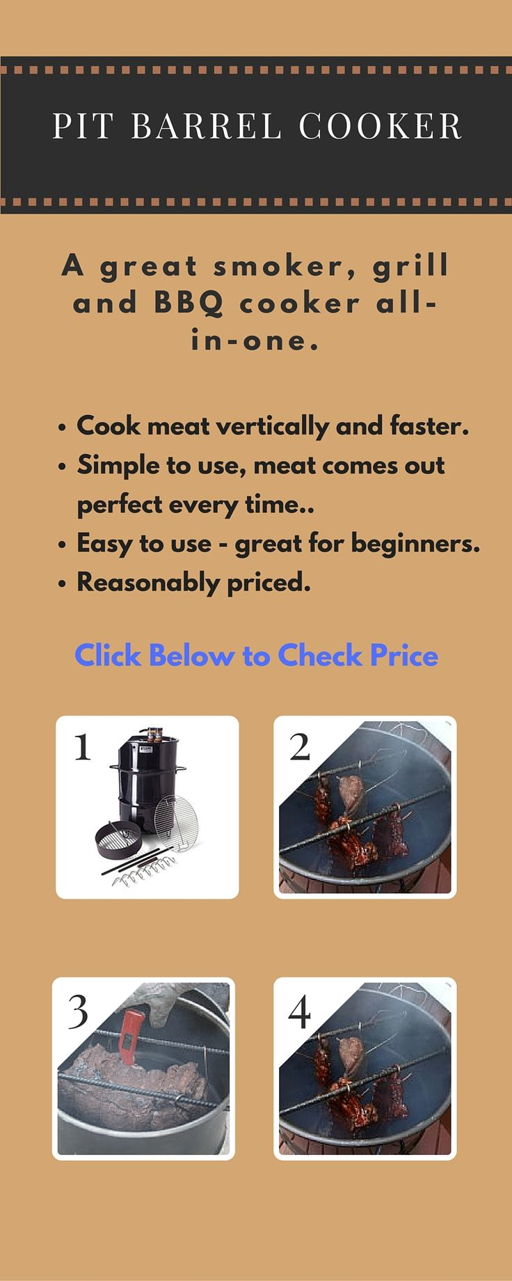 The Pit Barrel Cooker is a grill, smoker and BBQ all-in-one. Outstanding reviews. Click to check price.