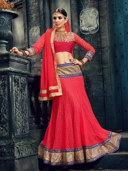 Red Georgette Lehenga Choli with Embroidery Work