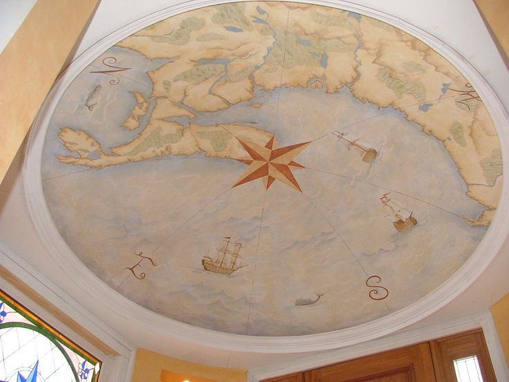 Mural painting of an antique map with compass rose on for Ceiling mural decal