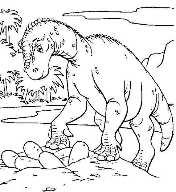 Checking Dinosaur Eggs Coloring Pages For Kids Printable Dinosaurs