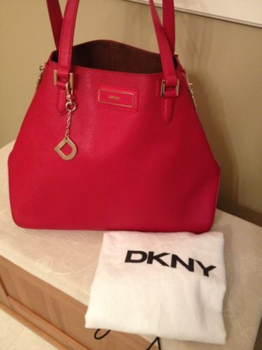 DKNY Red Saffiano Leather Women's Large Side Zipper Tote Bag Purse ...