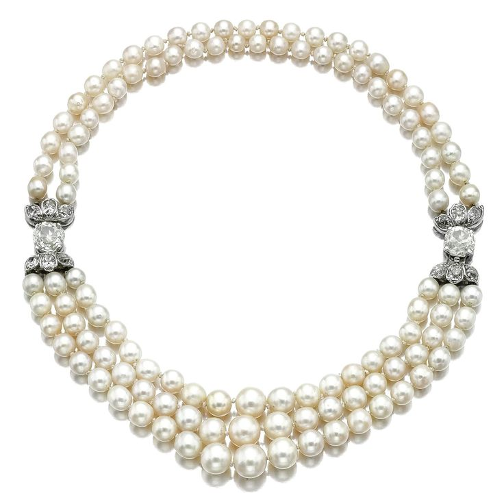 Natural Saltwater Pearl and Diamond Necklace. Set …