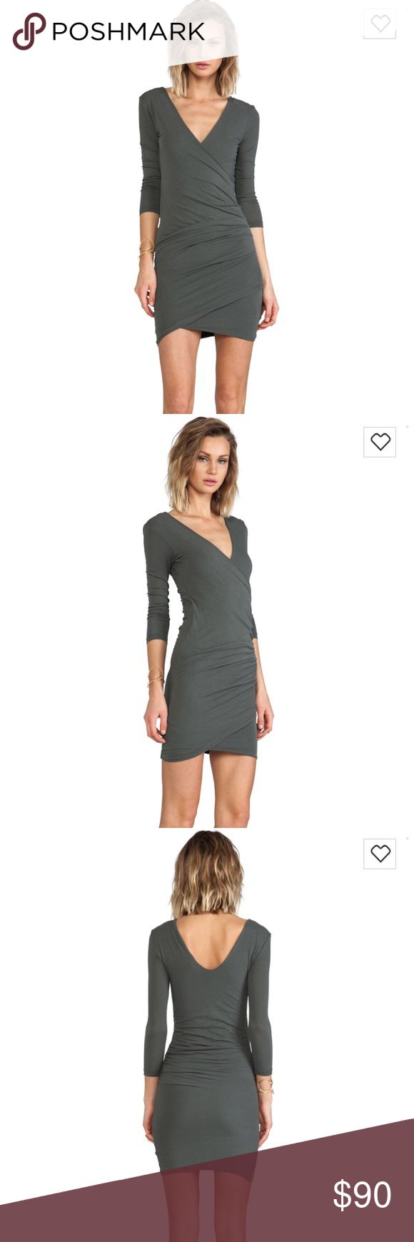 James Perse Forest green Skinny Wrap Tuck Dress L New without tag, SOLD OUT. size 3=L. James Perse Dresses