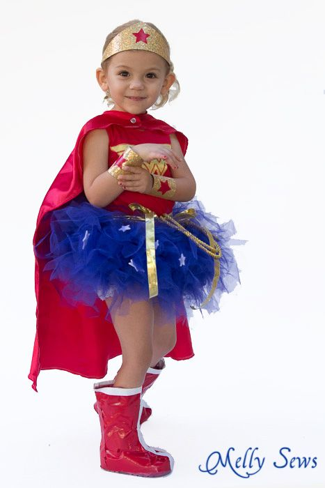 So adorable! Make a toddler Wonder Woman tutu costume - Melly Sews