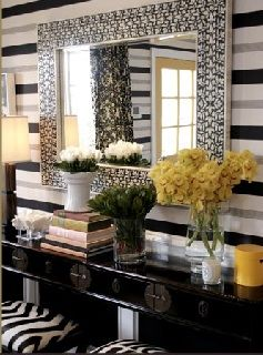 Brown Design - entrances/foyers - black, gray, white, striped, wallpaper, Asian, zen, glossy, black, console, table, zebra, ottomans, stools, bone inlay, wall mirror, yellow, room accents, entrance, foyer, striped walls,