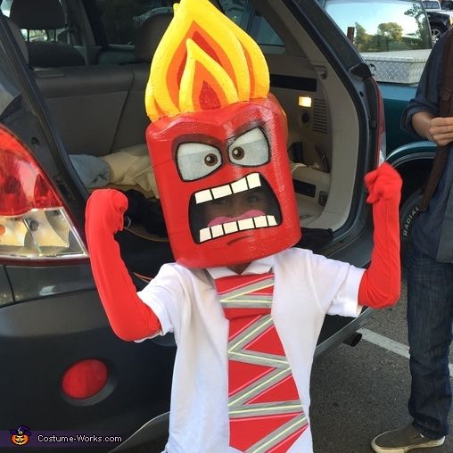 Stuart: My 6 year old son loved the Anger character from the Disney movie Inside Out so my wife and I worked together to create his Anger inspired costume. The head...