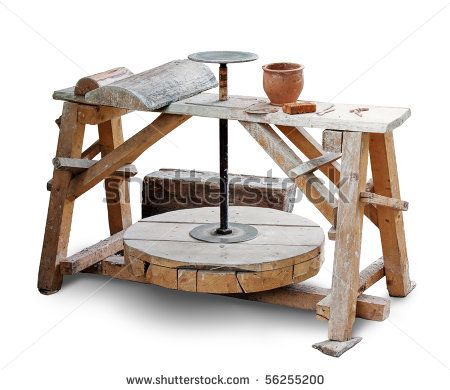 Potters Wheel Isolated Over White. Clipping Path Included. Stockfotonummer: 56255200 : Shutterstock