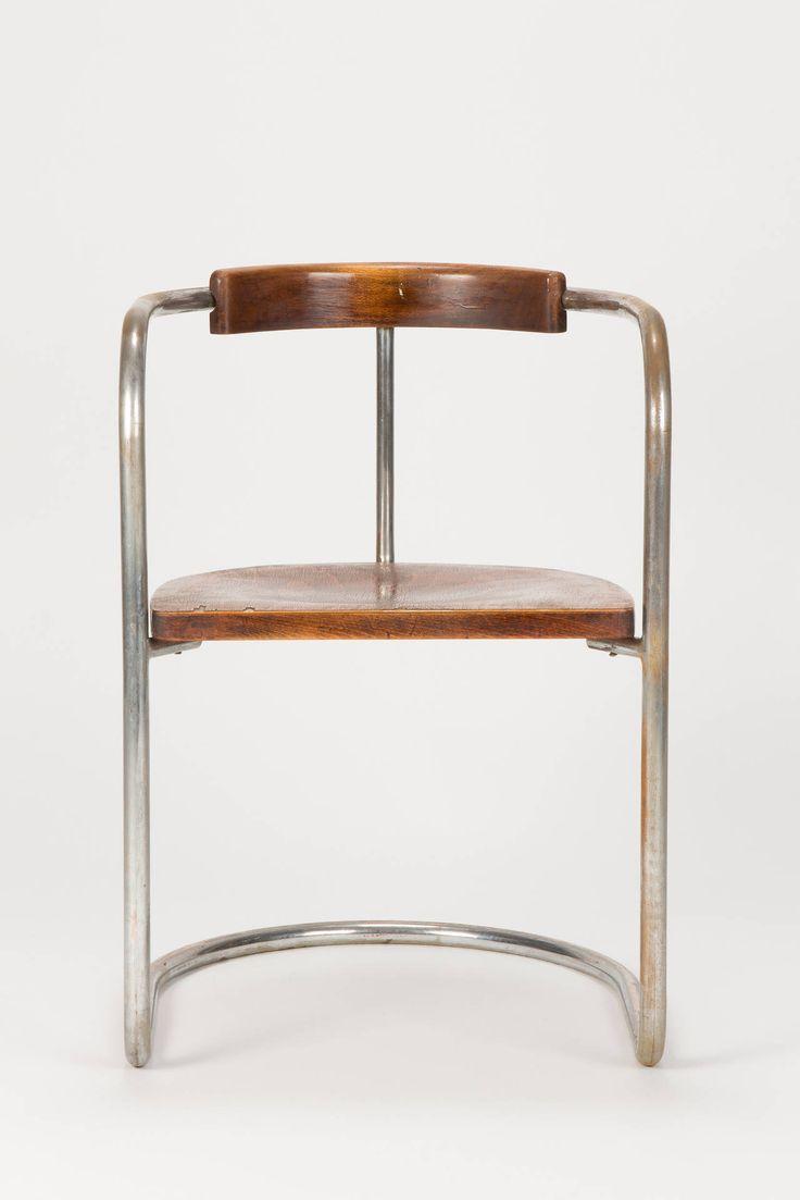 Antique bauhaus steel tube cantilever chair italy 1930s for Danish design stuhl