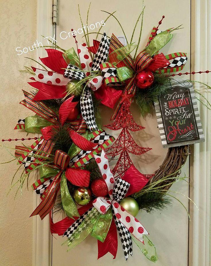 Christmas Grapevine Wreath, Whimsical Christmas Wreath, Holiday Wreath, Christmas Decor, Holiday Grapevine Wreath, Christmas Tree Decor by SouthTXCreations on Etsy
