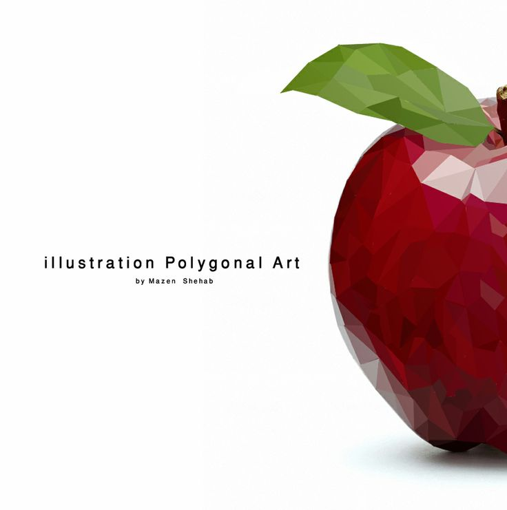 "illustration Polygonal art work "" Polygonal Apple ""  - #illustration #Polygonal #art #work #apple :) ♥"