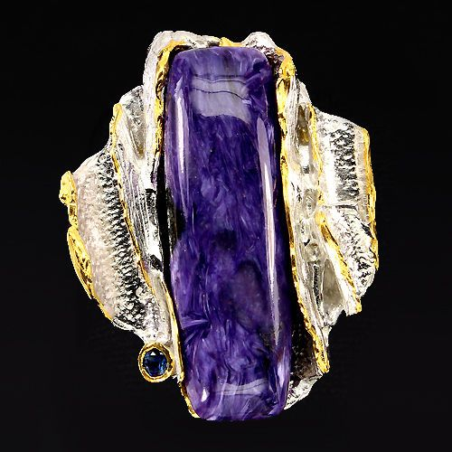 FREE SHIPPING! HANDMADE RARE 37x12mm CHAROITE-SAPPHIRE 2-TONE 925 SILVER RING 7# #Handmade #SolitairewithAccents
