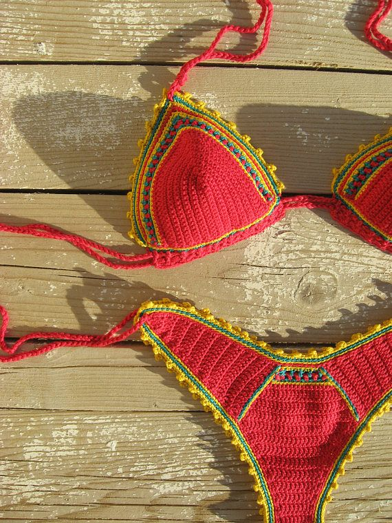 © original design by GOODMOODCREATIONS Handmade with 100% high quality cotton yarn. You can get wet with this bikini and it will stay in place. The stitches are very dense and tight to give enough support and coverage.