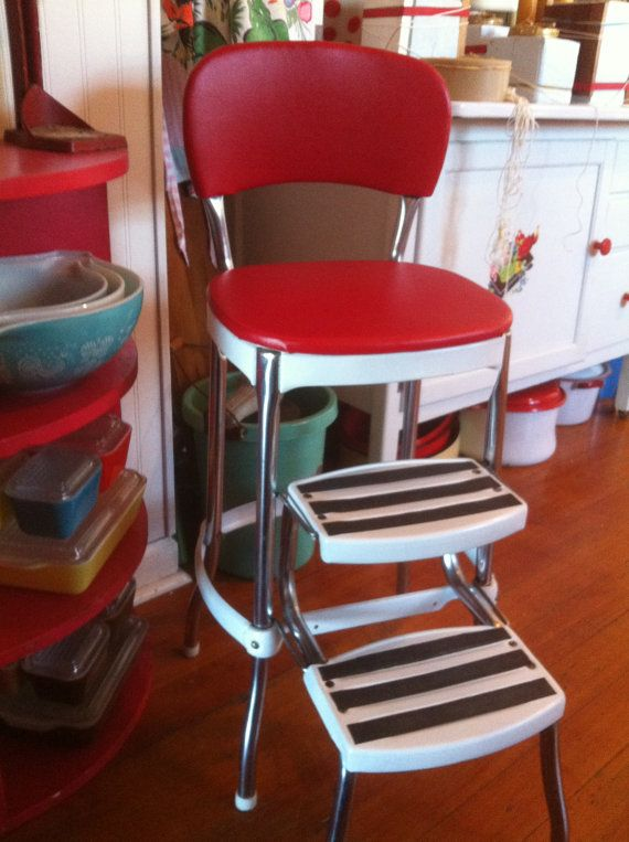 Red and White Kitchen Stool