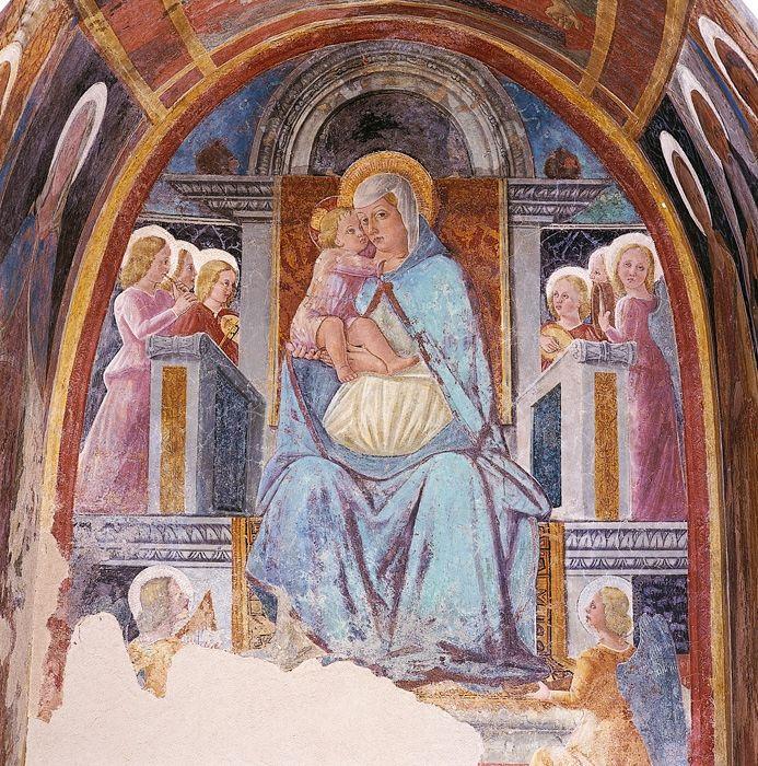 Giovanni Angelo d'Antonio - Madonna col Bambino in trono e angeli.- 1475-1478 ca. - affreschi strappati da edicola viaria - Camerino, Pinacoteca civica
