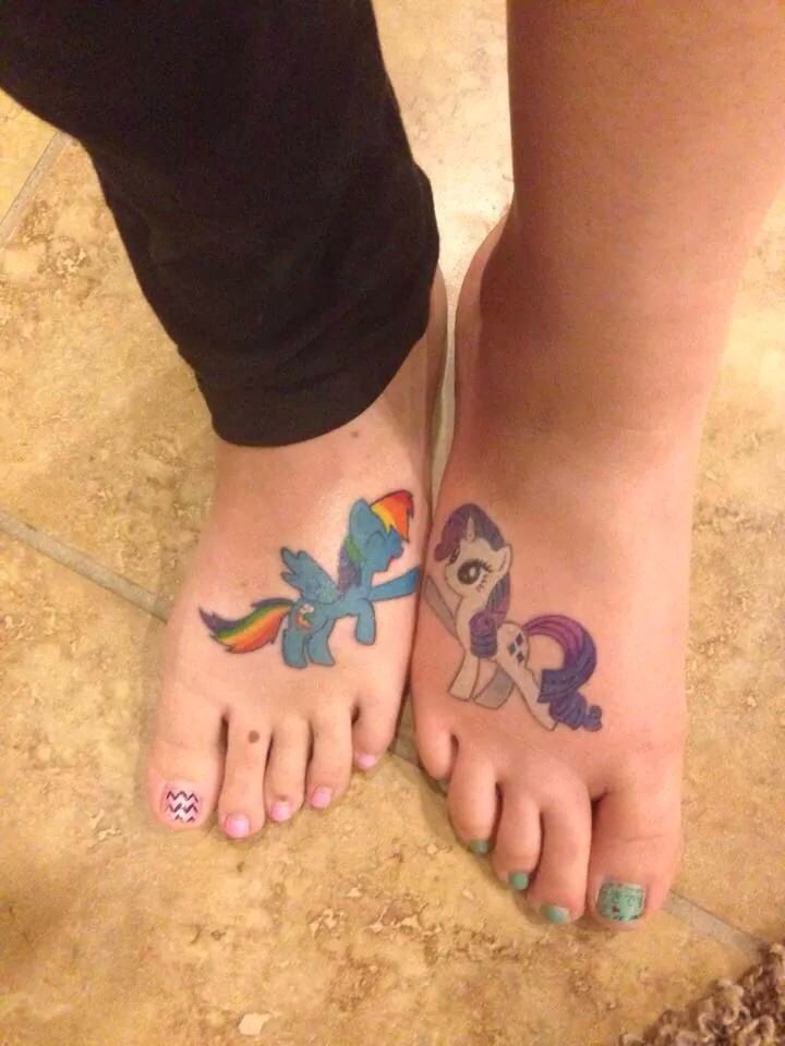 My little pony friendship is magic best friend hoof bump tattoo! Rainbow dash and rarity