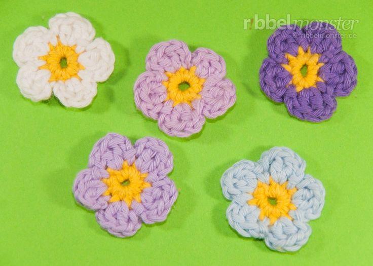 Blumen häkeln – kleine 5-blättrige Blüte