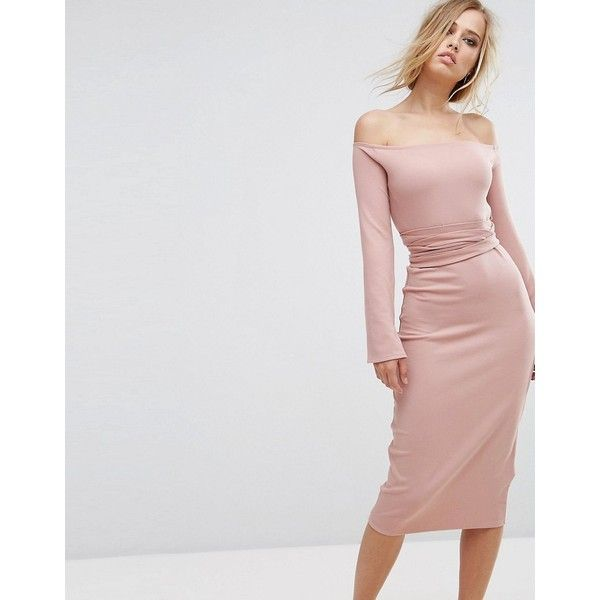 Lost Ink Midi Dress With Split Sleeves (£45) ❤ liked on Polyvore featuring dresses, pink, long sleeve midi dress, long-sleeve maxi dress, tall dresses, midi dress and pink dress